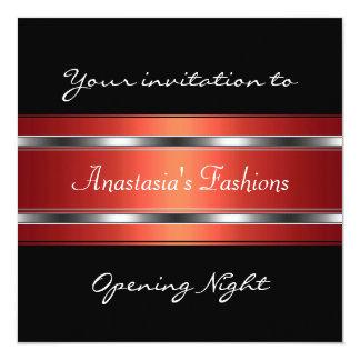 Invite a la plata roja negra de la noche de la invitación 13,3 cm x 13,3cm