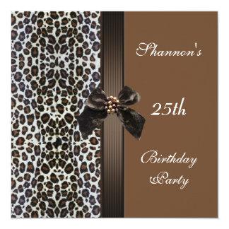 Invite al 25to estampado de animales de Brown de Invitación 13,3 Cm X 13,3cm