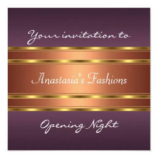 Invite al cobre púrpura del oro de la noche de la invitación 13,3 cm x 13,3cm