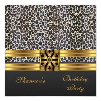 Invite al estampado de animales del oro del negro invitación 13,3 cm x 13,3cm