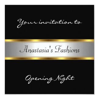 Invite al oro blanco negro de la noche de la invitación 13,3 cm x 13,3cm