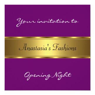 Invite al oro de la púrpura de la noche de la invitación 13,3 cm x 13,3cm