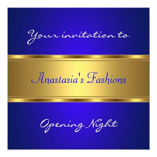 Invite al oro del azul de cobalto de la noche de l anuncios personalizados