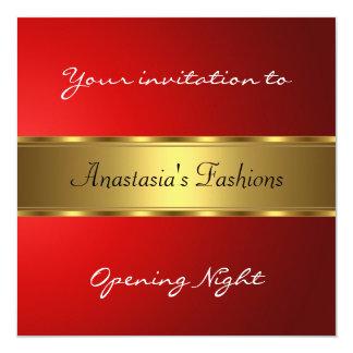 Invite al oro del rojo de la noche de la invitación 13,3 cm x 13,3cm
