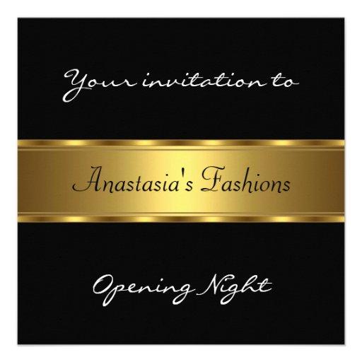 Invite al oro negro de la noche de la inauguración comunicados personalizados