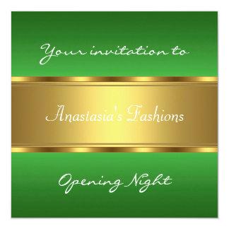 Invite al oro verde de la noche de la inauguración invitación 13,3 cm x 13,3cm