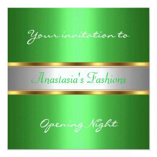 Invite al verde de la noche de la inauguración invitación 13,3 cm x 13,3cm