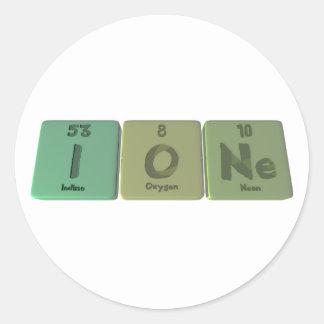 Ione como neón del oxígeno del yodo etiqueta redonda