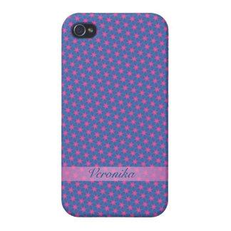 iPhone 4/4S Carcasa Estrellas del rosa en un fondo azul