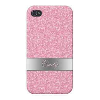 iPhone 4/4S Carcasas La pendiente rosada de la plata del purpurina