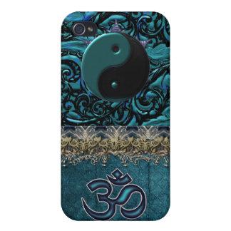 iPhone 4/4S Fundas Brocado de la turquesa con símbolos y ajuste