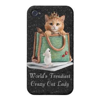 iPhone 4/4S Fundas La señora loca más de moda princesa Kitten del