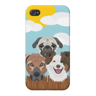 iPhone 4/4S Fundas Perros afortunados del ilustracion en una cerca de