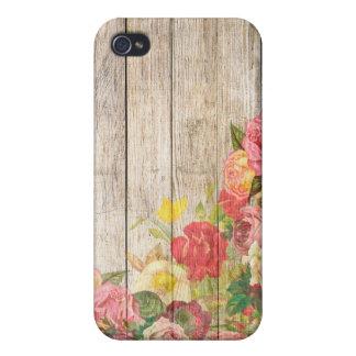 iPhone 4 Carcasa Rosas románticos rústicos del vintage de madera