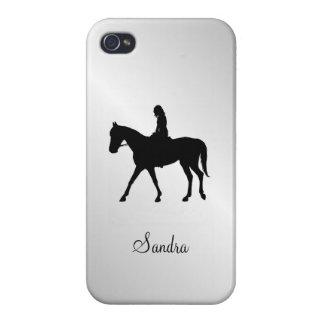 iPhone 4 Cárcasas Chica en la plata del caballo