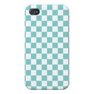 iPhone 4 Cárcasas Modelo del tablero de damas de la aguamarina
