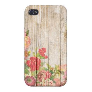 iPhone 4 Carcasas Rosas románticos rústicos del vintage de madera
