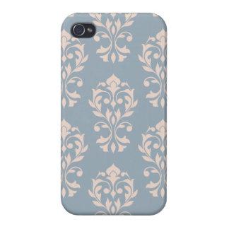 iPhone 4 Cobertura Rosa de LG Ptn II del damasco del corazón en azul