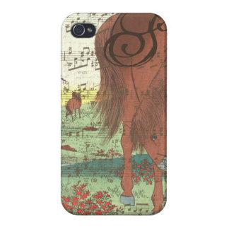 iPhone 4 Fundas Caso musical del iPhone del monograma del caballo