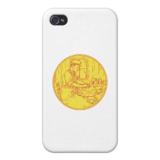 iPhone 4 Fundas Círculo tradicional Drawin del queso del quesero
