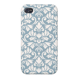 iPhone 4 Fundas Crema grande del modelo del damasco del Flourish