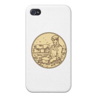 iPhone 4 Fundas Quesero que hace el dibujo del círculo del queso