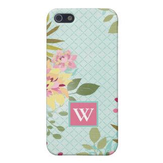 iPhone 5 Cárcasa Jardín floral, fondo azul