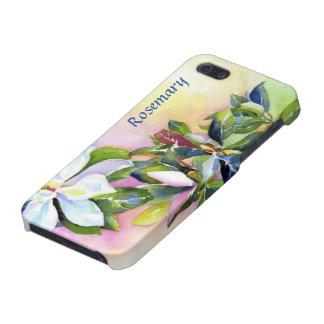 iPhone 5 Cárcasas Filamento de las flores blancas con el azul y el