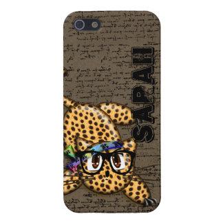 iPhone 5 Fundas Vidrios lindos del empollón del leopardo del