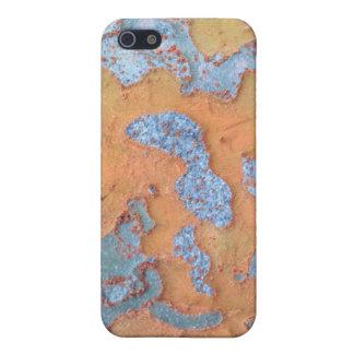 iPhone 5 Protector Corteza de árbol anaranjada y azul