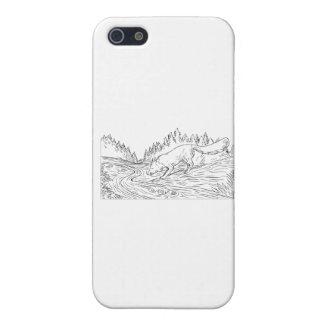 iPhone 5 Protectores Dibujo blanco y negro de consumición de maderas