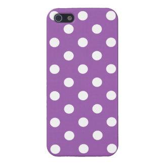 iPhone 5 Protectores Modelo de lunar púrpura y blanco