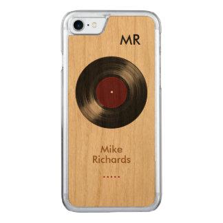 iPhone 6 con el disco de vinilo en la madera Funda Para iPhone 8/7 De Carved