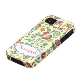 Iphone bordado vintage personalizado del modelo Case-Mate iPhone 4 carcasa