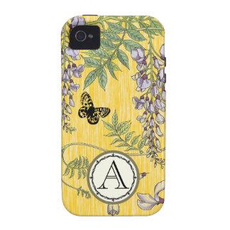 Iphone de la flor de Wistria del vintage del iPhone 4/4S Funda
