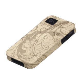 iPhone del remolino de la escritura del vintage de Vibe iPhone 4 Funda