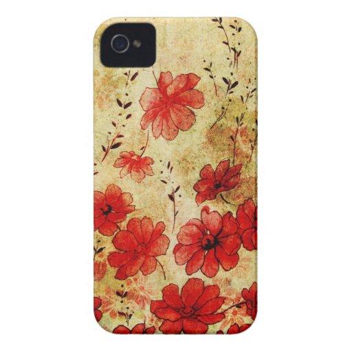 iPhone floral 4 del Grunge rojo Carcasa Para iPhone 4