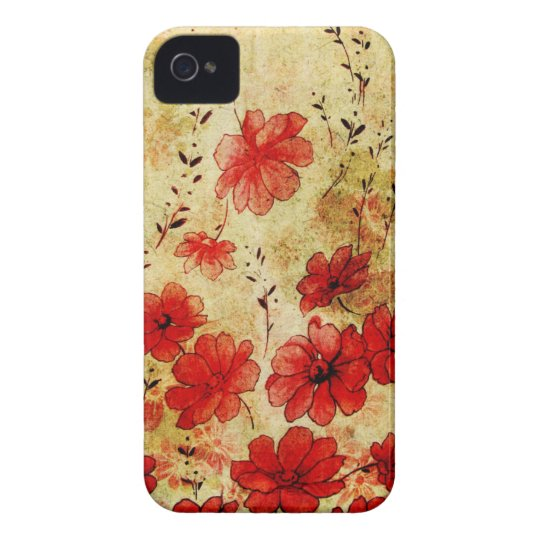 iPhone floral 4 del Grunge rojo Carcasa Para iPhone 4