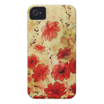iPhone floral 4 del Grunge rojo iPhone 4 Case-Mate Carcasa
