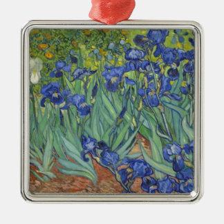 Iris azules adorno de cerámica