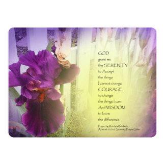 Iris de la violeta del rezo de la serenidad invitación 16,5 x 22,2 cm