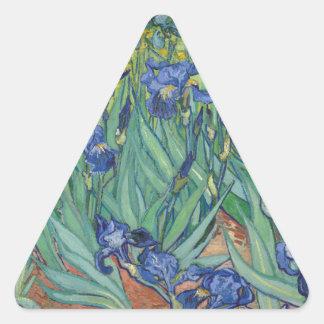 Iris de Van Gogh Pegatina Triangular