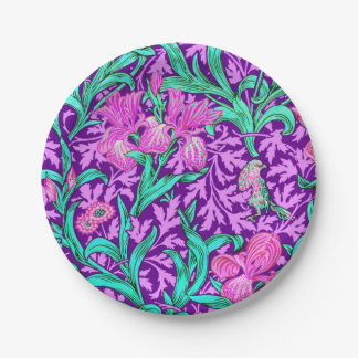Iris de William Morris, púrpura Amethyst Plato De Papel