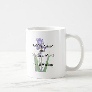 Iris púrpura precioso taza de café