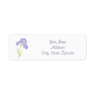 Iris violeta etiquetas de remite