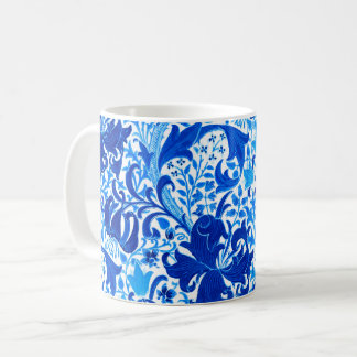 Iris y lirio, azul de William Morris de cobalto Taza De Café