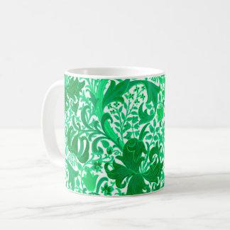Iris y lirio, verde de William Morris de jade Taza De Café