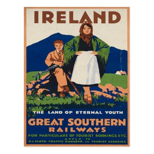 Irlanda - poster del viaje del irlandés del vintag tarjeta postal