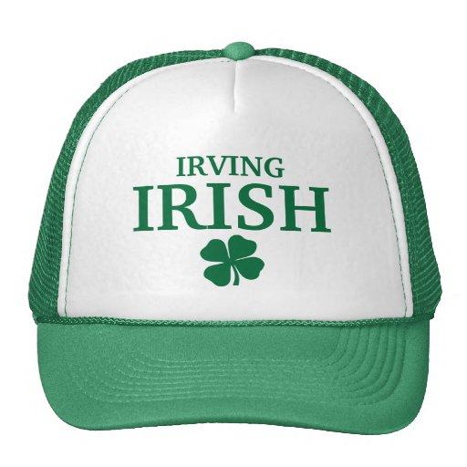 ¡IRLANDÉS orgulloso de IRVING! El día de St Patric Gorros Bordados