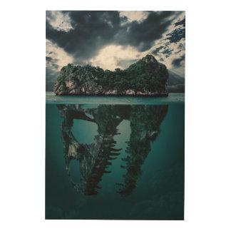 Isla artística de la fantasía abstracta impresión en madera